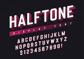 Vector Display Font Design With Halftone Shadow, Alphabet, Character Set, Typeface, Typography, Lett poster