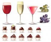 A vector pretty set of sweets and wine
