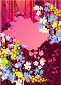 Floral greeting card with mimosa, heart and forget-me-nots