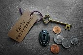 Early Retirement Tag With Gold Key, Keyhole And Coins poster