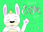 Hand Sketched Happy Easter Day Text With Joyful White Bunny And Stars As Pascha Logotype, Badge And  poster