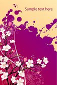 Beautiful colorful grunge background with spring blossoming branch of tree