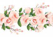 Horizontal seamless rose pattern