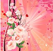 Summer romantic background with pink roses