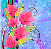 Floral greeting card with tulips