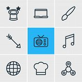 Vector Illustration Of 9 Entertainment Icons Line Style. Editable Set Of Tea, Airship, Piano And Oth poster