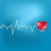 Herz und Herzschlag Symbol auf blauem Hintergrund