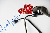 Cardiogram Pulse Trace With Red Heart And Medical Stethoscope Concept For Cardiovascular Medical Exa poster