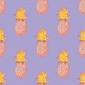 Pineapple Funky Seamless Pattern. Cartoon Style Pattern Design. poster