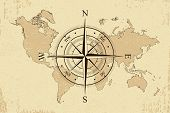 Vintage World Map With Retro Compass. Background Old Paper Map And Wind Rose. Vector Illustration. poster