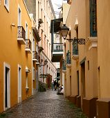 stock photo of san juan puerto rico  - An alleyway in Old San Juan Puerto Rico - JPG