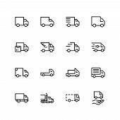 Truck Flat Icon Set. Single High Quality Outline Symbol Of Info For Web Design Or Mobile App. Thin L poster