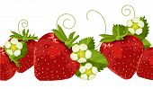 Ripe strawberries, leaves and flowers in seamless border