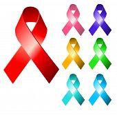 Awareness ribbons. Raster version.