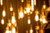 Light Bulbs Were Hung With Beautiful With Light From Bokeh A Light Bulb, Many Beautifully. poster