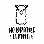 Nodrama Llama Vector Quote With Hand Drawn Llama. Llama Motivational And Inspirational Quote. Simple poster