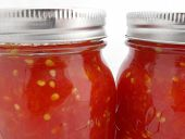 Close-up Glass Chopped Tomato Sauce Jars