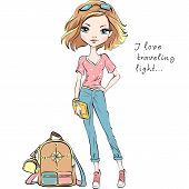 Vector Beautiful Fashion Girl In Summer Clothes With Backpack And Clutch Bag poster