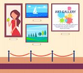 Art Gallery Exhibition With Pictures Hanging On Wall Behind Barrier Vector Illustration In Flat Styl poster