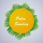 Illustration Of Palm Leaves With Palm Sunday Text On The Occasion Of Christian Moveable Feast Palm S poster