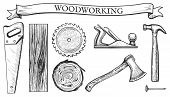 Vector Illustration Of A Woodworking Objects Set: Hand Saw, Circular Blade, Wooden Slab, Board, Tree poster