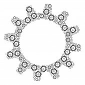 Cogwheel Figure Constructed In The Combination Of Cogwheel Elements. Vector Iconized Composition Con poster