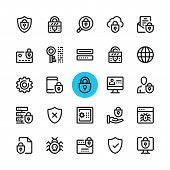Data Security, Privacy, Computer Protection Line Icons Set. Modern Graphic Design Concepts, Simple O poster