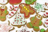 foto of christmas cookie  - Bunch of isolated variously shaped christmas cookies - JPG