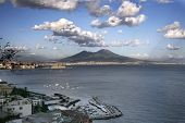 Italy, Naples, Bay of Naples, Mount Vesuvius on horizon