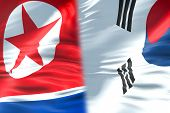 Half North Korea Flag And Half South Korea Flag, Crisis State Diplomacy And North Korea For Nuclear  poster