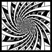 black and white spiral design vector