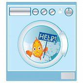 Fish in washing machine vector