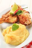 Spicy Chicken Drumsticks And Mashed Potato poster
