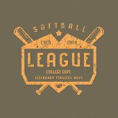 Emblem Of Softball Team. Graphic Design For T-shirt.  Orange Print On Brown Background poster