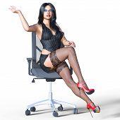 Long-haired Sexy Brunette Secretary In Black Stockings. Beautiful Girl With Glasses Sitting Office C poster