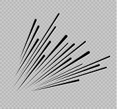 Set Of Isolated Speed Lines. The Effect Of Movement To Your Design. Black Lines On A Transparent Bac poster