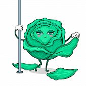 Cabbage Stripper Pole Dancer Undresses Pop Art Retro Vector Illustration. Cartoon Food Character. Is poster