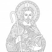 Jesus Christ And Newborn Baby Sheep. Portrait Of Christian Biblical Character. Coloring Page For Adu poster