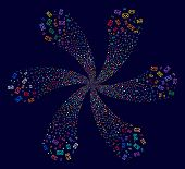 Colorful Envelope Cyclonic Twist On A Dark Background. Impressive Flower With Six Petals Designed Fr poster