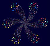 Colorful Mouse Cursor Centrifugal Fireworks On A Dark Background. Suggestive Flower Combined From Ra poster
