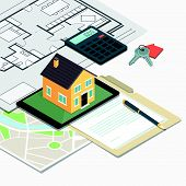 Real Estate, Loan And Home Insurance: Model House On A Table, House Plan And Home Keys poster
