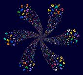 Multicolored Human Anatomy Rotation Flower Cluster On A Dark Background. Suggestive Whirlpool Done F poster