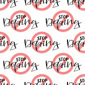Stop Doping Seamless Pattern With Syringe. Anti Drug Concept. Vector Background poster