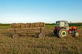 Baling Hay In Filed