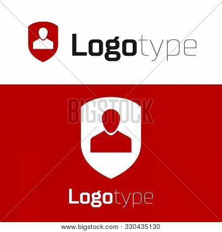 poster of Red User Protection Icon Isolated On White Background. Secure User Login, Password Protected, Person