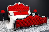 Luxurious  Bed With Standard Lamp In Interior