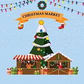 Christmas Souvenirs Market Stalls With Decorations And Gifts. Big Christmas Tree Xmas Shops With Gar poster