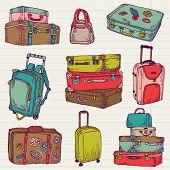 Conjunto de malas de viagem colorida Vintage - design e recados em vetor