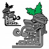 illustration of mayan idol, can be used as a border