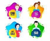 Hot Sale. People Shape Offer Badge. Special Offer Price Sign. Advertising Discounts Symbol. Dynamic  poster